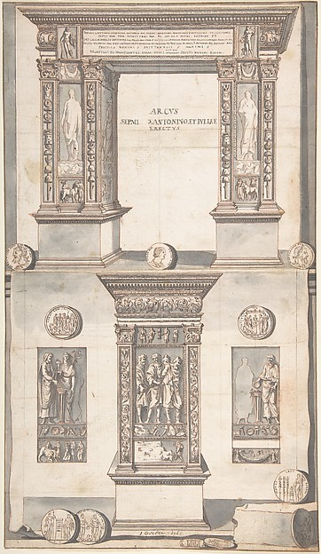 Fascinating Historical Picture of Jan Goeree with Arch of Septimius Severus Frontal Elevation (above) and Side View (below) in 1704