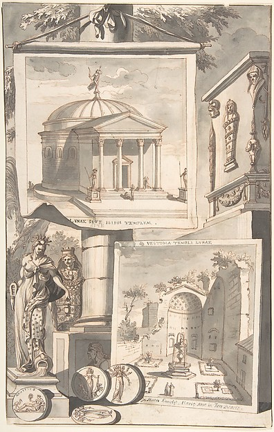Fascinating Historical Picture of Jan Goeree with A Reconstruction of the Templum Isis (above) and a View of the Ruins (below) in 1704