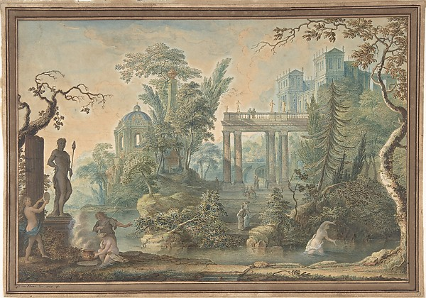Arcadian Landscape with several Figures and a Statue of Apollo