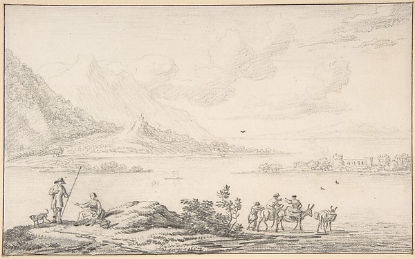 Fascinating Historical Picture of Younger with Landscape with mountains and a lake figures in the foreground in 1687