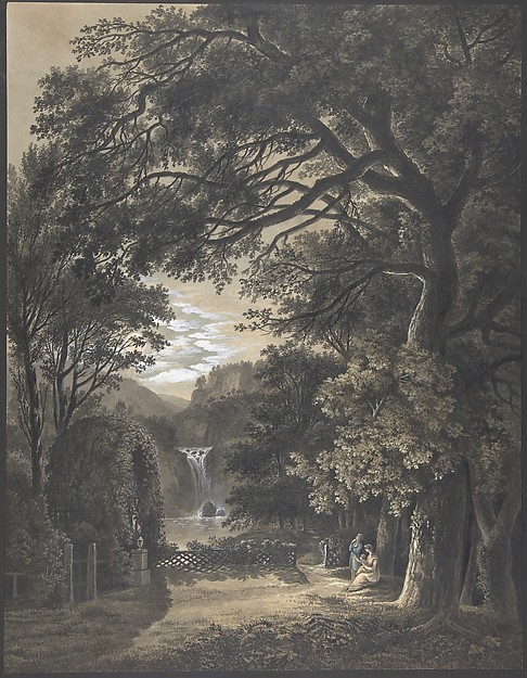 Family Gathered Before a Monument in a Landscape with a Waterfall