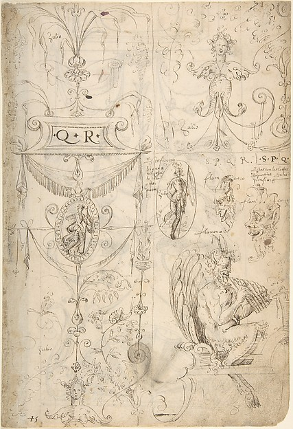 Grotesques Designs with Various Inscriptions (recto); Candelabra Grotesque and Two Putti Holding Flowers (verso)