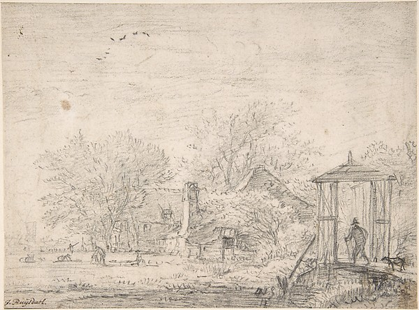 House among Trees, at Right Man and Dog on a Footbridge