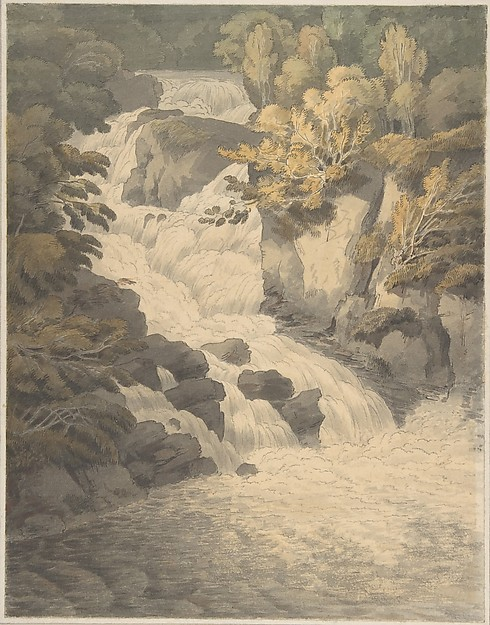 Fascinating Historical Picture of John White Abbott with Cascade of the Aray at Inveraray (Scotland) on 6/30/1791