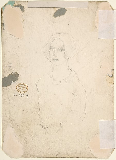 "Drawing for scene from Vanity Fair: ""Street Scene"" (recto); Sketch of Young Woman (verso)"