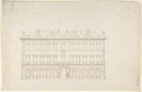 Design for a Public Building in the Italian Renaissance Palazzo Style