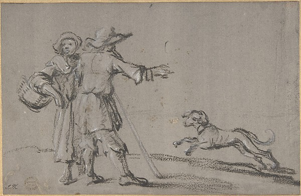 Two Figures and a Dog