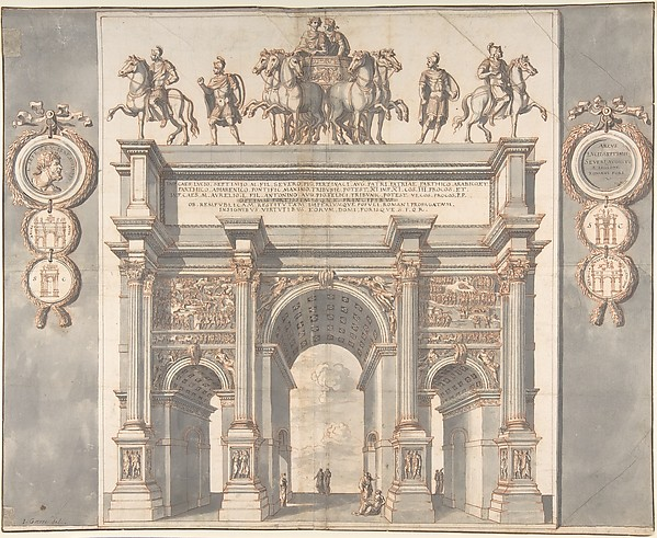 Fascinating Historical Picture of Jan Goeree with A Reconstruction of the Arch of Septimius Severus in 1704
