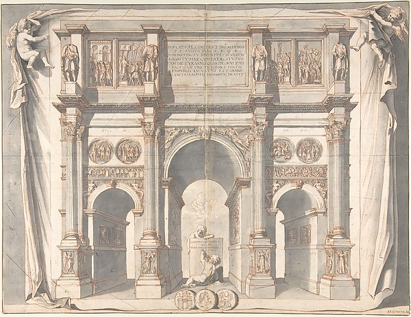 Fascinating Historical Picture of Jan Goeree with View of the Arch of Constantine in 1704