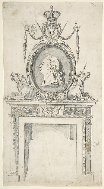 Fascinating Historical Picture of Sir William Chambers with Design for a Chimneypiece Incorporating a Portrait of George III in 1760