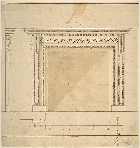 Fascinating Historical Picture of Sir William Chambers with Design for a Chimneypiece with Scalloped Moldings in 1743