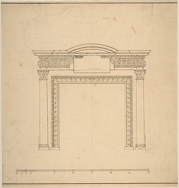Fascinating Historical Picture of Sir William Chambers with Design for a Chimneypiece with a Frieze with Floral Decoration and Capitals Decorated with Animals in 1743