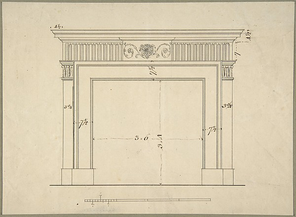 Fascinating Historical Picture of Sir William Chambers with Design for a Chimneypiece in 1743