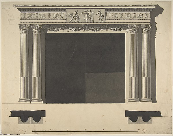Fascinating Historical Picture of Sir William Chambers with Design for a Chimneypiece with Ionic columns a Frieze and Cornice in 1743