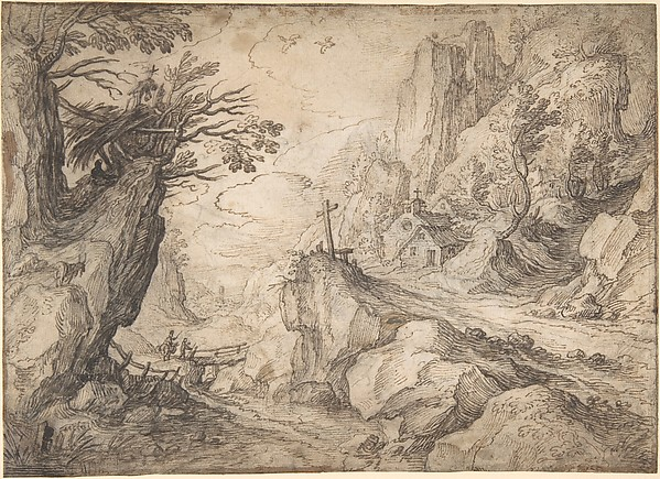 A Mountainous River Landscape with a Hermit and a Chapel