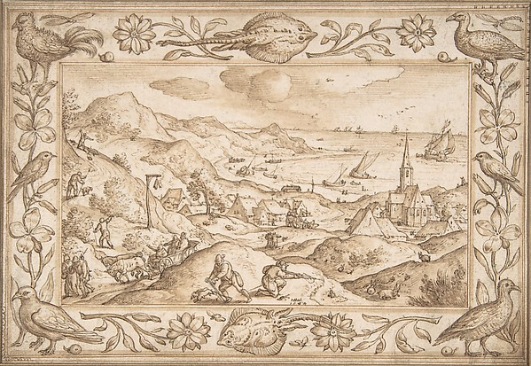 Hilly Coastal Landscape with Hunters, with an elaborate border of Fishes and Birds