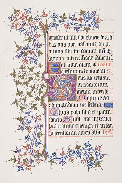 "Illuminated Leaf with Initial ""D"" (recto); Vine Border for Initial ""D"" (verso)"