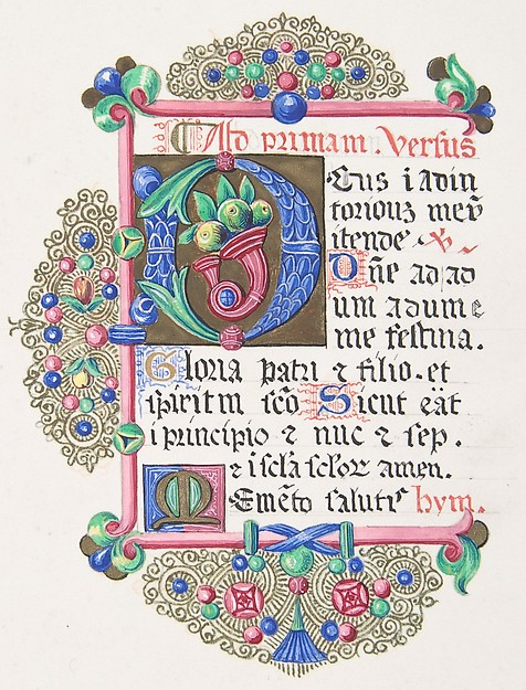"Illuminated Letter ""D"" within a Decorated Border"
