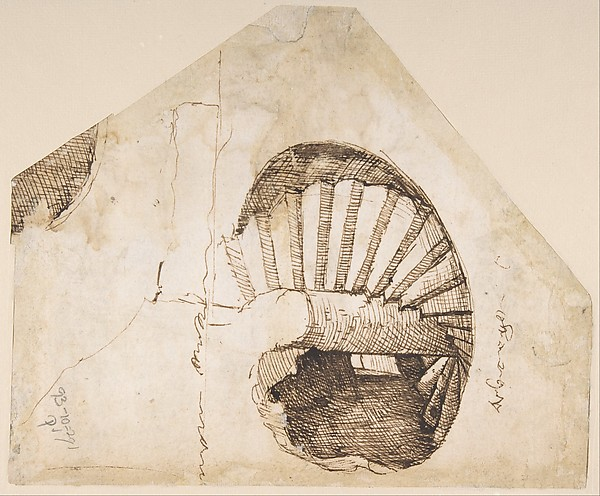 The Dioscuri on Monte Cavallo; verso: Study of a Spiral Staircase