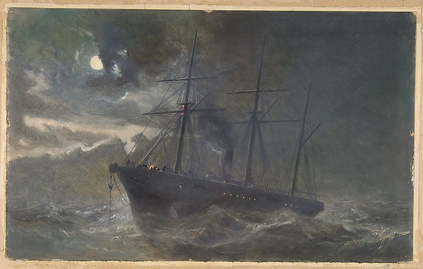 The Albany buoying a bight of the cable of 1865 on the night of August 26th, 1866