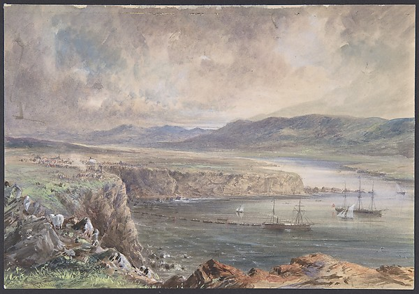 Foilhommerum Bay, Valencia, looking from Cromwell Fort. The Caroline and boats laying the earth wire, July 21st, 1865