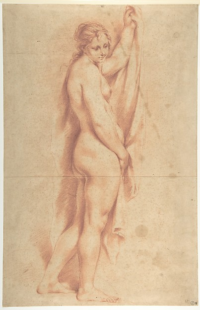 Fascinating Historical Picture of Carlo Cignani with Standing Nude Female Figure (recto); Studies of a Kneeling Nude Female Figure and of a Mans Head (v in 1620