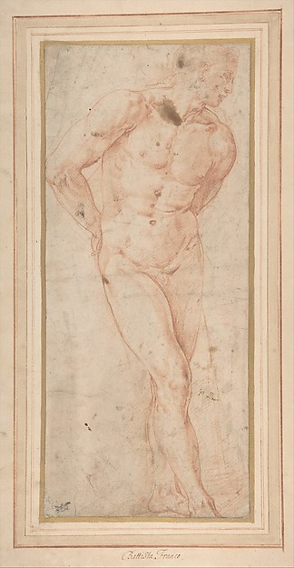 Standing Male Nude with Hands behind Back