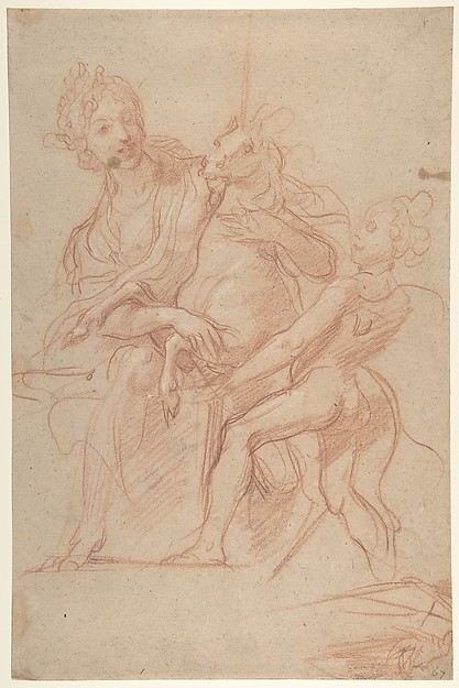 Allegorical Figure of Purity with a Unicorn and Putto (recto); Study of a Nude Boy (verso)