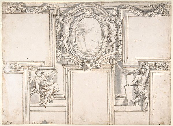 Fascinating Historical Picture of Luigi Garzi with Design Wall Elevation with Stucco and Painted Decorations in 1708