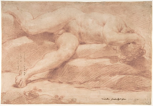 Fascinating Historical Picture of Ubaldo Gandolfi with Reclining Male Nude (recto); Seated Male Nude (verso) in 1728