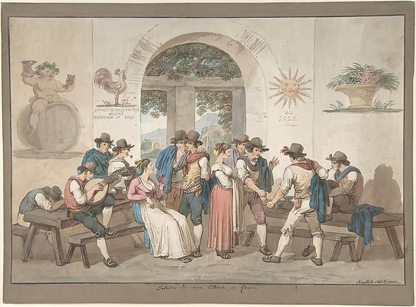 Interior of a Roman Inn, 1817.
