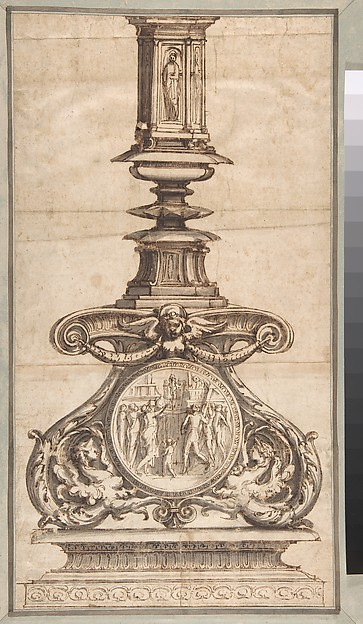 Design of a Candlestick with Winged Figures at Base Surrounding Scenic Medallion