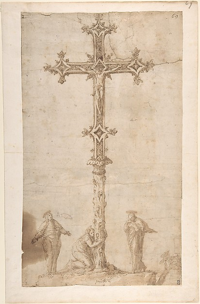 Design for a Crucifix with the Virgin Mary, Saint Mary Magdalen, and Saint John
