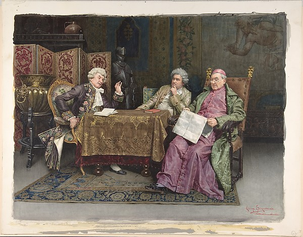 Priest and Two Men Seated at a Table