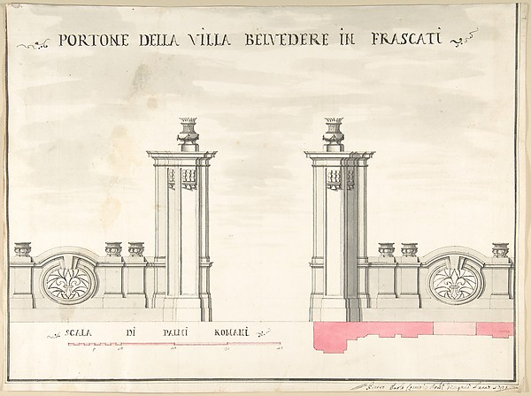 Fascinating Historical Picture of Pietro Paolo Coccetti with Gate of Villa Belvedere in Frascati in 1710