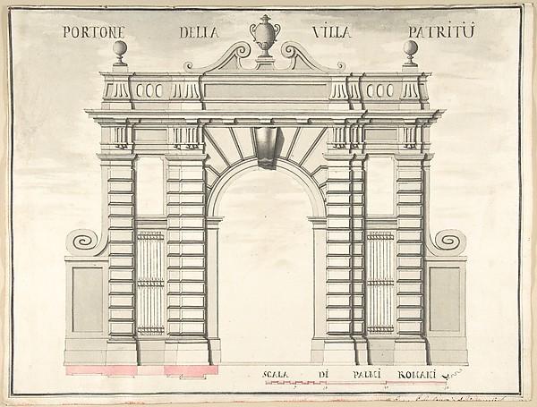 Fascinating Historical Picture of Pietro Paolo Coccetti with Gate of the Villa Patritii [Patritj] in 1710