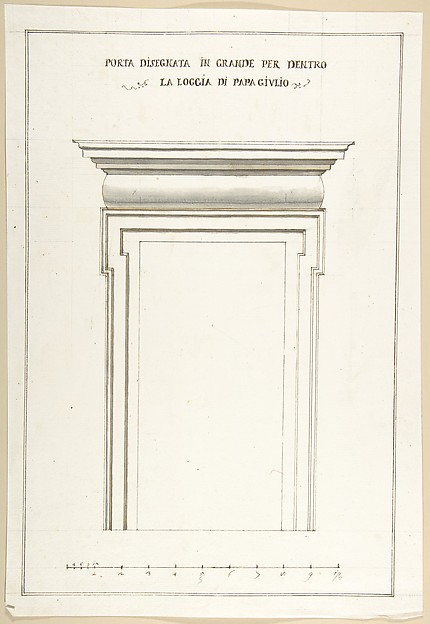 Fascinating Historical Picture of Pietro Paolo Coccetti with Design Elevation for an Interior Door in the Loggia of Pope Julius [III.] in 1710