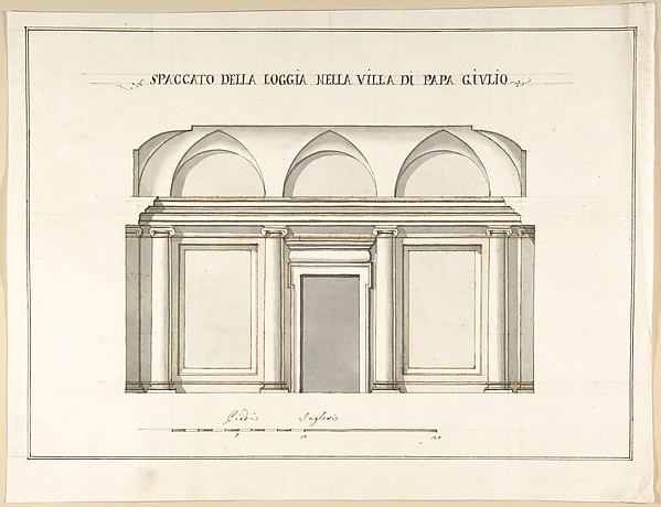 Fascinating Historical Picture of Pietro Paolo Coccetti with Section of the Loggia in the Villa of Pope Julius [III.] in 1710