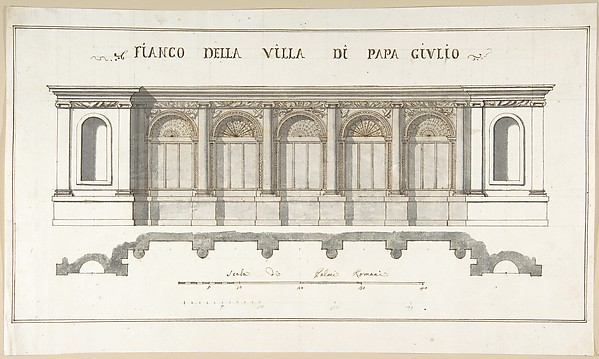 Fascinating Historical Picture of Pietro Paolo Coccetti with Side Elevation of the Villa of Pope Julius [III.] in 1710