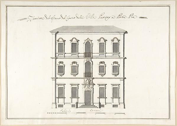 Fascinating Historical Picture of Pietro Paolo Coccetti with Design of the Side Elevation for the Casino of the Villa Patritj [Patritii] at Porta Pia in 1710
