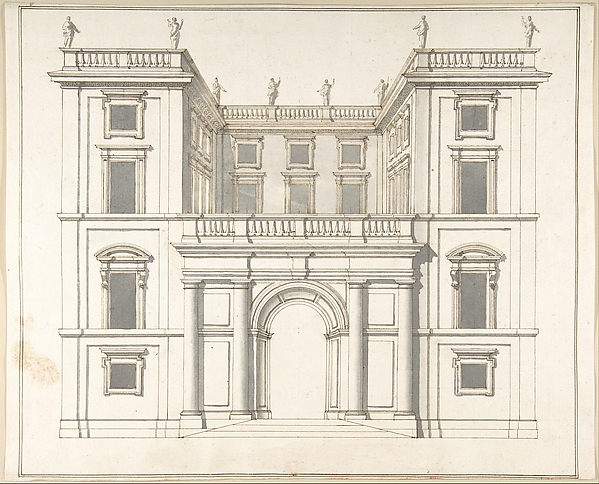 Fascinating Historical Picture of Pietro Paolo Coccetti with Facade of Palazzo Muti at Piazza SS. Apostoli in Rome in 1710