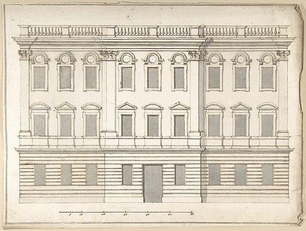 Fascinating Historical Picture of Pietro Paolo Coccetti with Design for Palace Faade in 1710