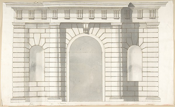 Fascinating Historical Picture of Pietro Paolo Coccetti with Elevation Design for the Entrance to Orti Farnesiani by Vignola in 1710