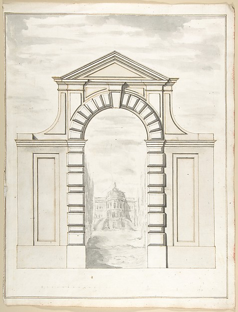 Fascinating Historical Picture of Pietro Paolo Coccetti with Elevation of a Garden Gate Showing a Palazzo or Villa in the Distance in 1710