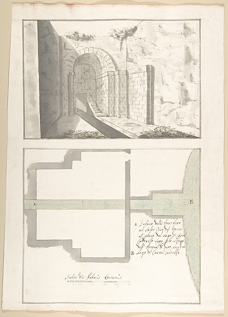 Fascinating Historical Picture of Pietro Paolo Coccetti with Canalization of the Mouth of the Sasso Vino into the Lake of Castel Gandolfo| Perspective and Plan in 1710