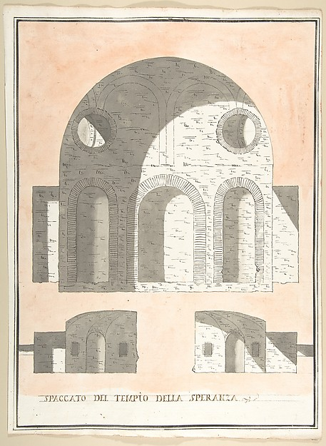 Fascinating Historical Picture of Pietro Paolo Coccetti with Three Sections of the Tempio della Speranza in 1710