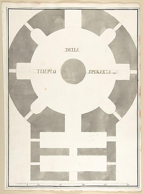 Fascinating Historical Picture of Pietro Paolo Coccetti with Plan of the Tempio della Speranza in 1710