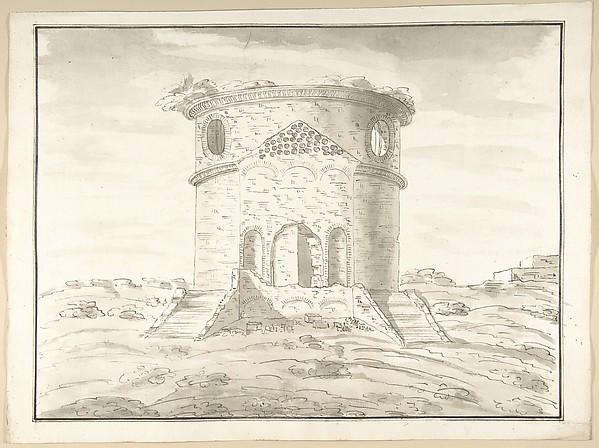 Fascinating Historical Picture of Pietro Paolo Coccetti with Perspective of a Rendering Round Temple in Ruins (probably Tempio della Speranza) in 1710