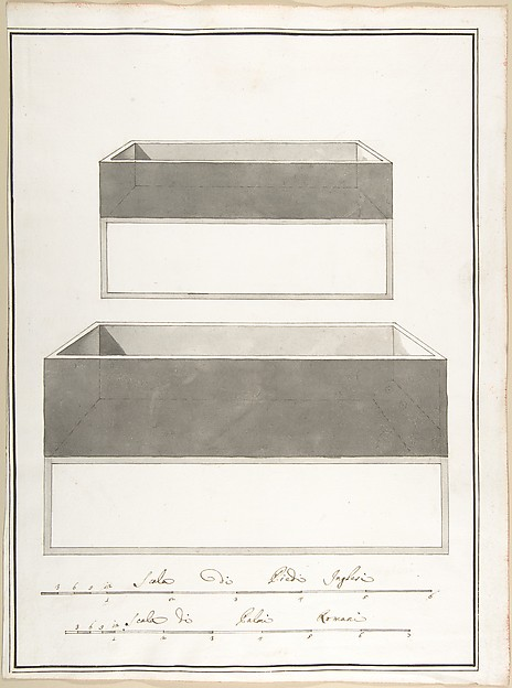 This is What Pietro Paolo Coccetti and Elevations and Plans of Two Boxes Looked Like  in 1710