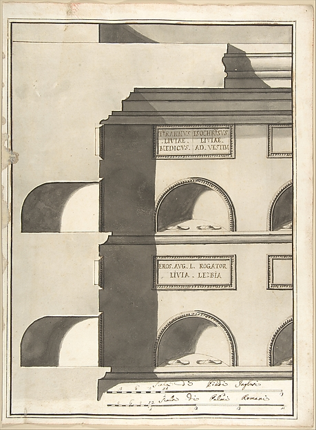 Fascinating Historical Picture of Pietro Paolo Coccetti with Elevation and Section of a Columbarium in 1710